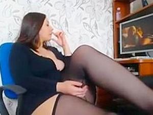 Curvy Brunette Toys Herself To Orgasm