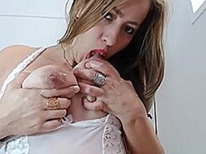 Daniella Drinks Her Milky Tits