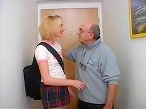 Blonde  College Girl With Old Man
