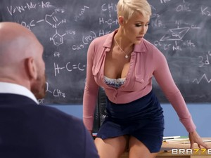 Naughty Short Haired Teacher Ryan Keely Gets Cum In A Classroom