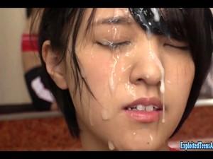 Jav Idol Kamiya Mitsuki Gets Massive Bukkake Drenched In Cum At College