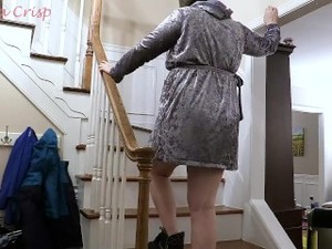 Climbing Up And Down Stairs For Labor Pregnant Big Belly 42 Weeks MILF