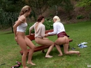 Three Sexy Lesbians Pissing In Action