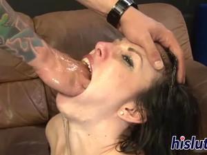 Lusty Brunette Deepthroats A Long Prick