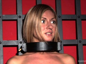 Astonishing Handcuffed And Legcuffed Beauty Is Ready To Use A Glass Dildo