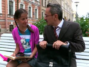 Lovely College Girl In Miniskirt Seduced By Her Aged Teacher