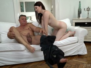 Naughty Sinful Pale Chick Mia Evans Lures Tall Man To Ride His Dick
