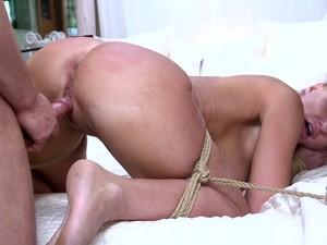 Tied Up Big Racked Submissive Bondage Whore London River Is Banged Doggy