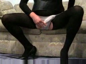 Fucked Up Rev In Pantyhose And Skirt Jerks Off On The Couch