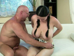 Lustful Brunette Whore With Huge Tits Gives Head To Her Old Lover