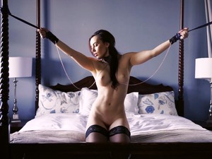 Chained And Collared Slave Fucking Her Cunt Hard