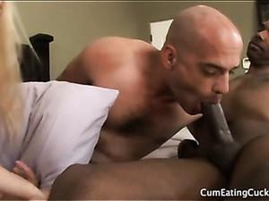 Cuckold Sucks Black Cock Fresh From His Lady