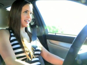 My Buddy's Playful And Sinful Brunette Chick Drives Car Topless