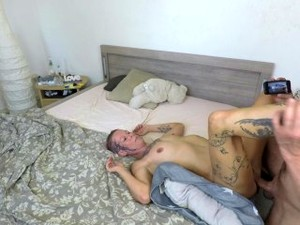 His Penis Interrupts Me On The Phone. Big Load Of Cum On My Tits