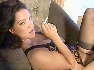 Hottie Smoking While Changing