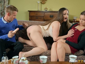 After A Blowjob Cathy Heaven Gets Her Pussy Pounded By Her Horny Friend