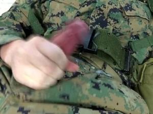 US Marine Crossdresser Cums All Over Self In Full Combat Uniform