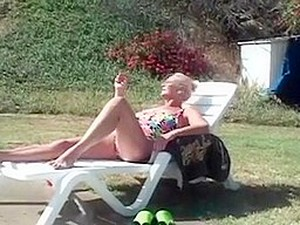 Aged Granny Trio By The Pool