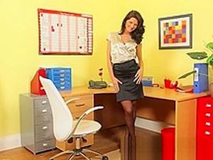 Busty Brunette Strips In The Office