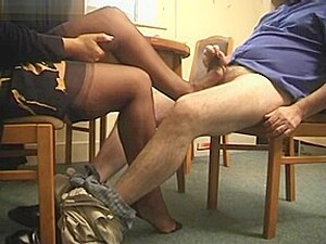 Hot Footjob Under Table In Interview