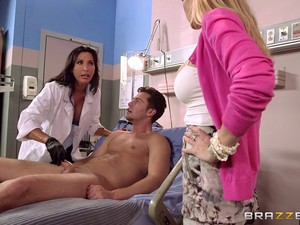Lucky Guy Gets His Dick Please By His Wife And A Female Doctor