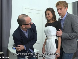 Businessman With Glasses Gives The Tight Babe A Nice Pussy Drilling