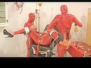 Matron In Red Rubber Double Balloon Catheter Pissparty