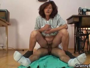 Horny Granny Enjoys Riding A Young Cock