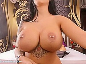Gorgeous Milf In Tattoos With Pierced Tongue And Nipple. HOT.