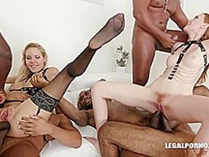 Linda Sweet And Florane Russell Are Having Their Asses Stretched Wildly By A Bunch Of Black Cocks