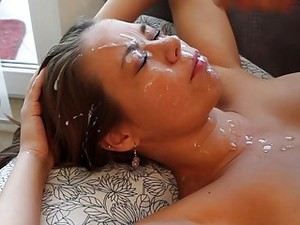 Shocked Teen Cant Believe The Amount Of Cum On Her