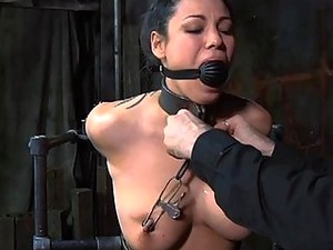 Girl Is Caged Up With Her Sexy Bald Pussy Exposed