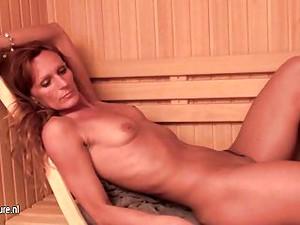 Mature Ladies Relaxing In Female Sauna
