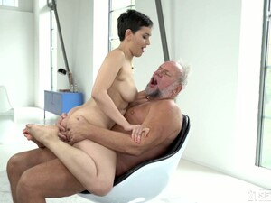 Short Haired Charming Busty Yasmeena Provides Old Pervert With BJ