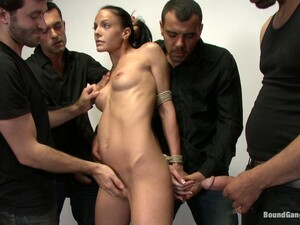 Brunette Chick Gets Double Penetrated And Fucked Hard In Gangbang