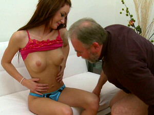 Pretty Redhead Chick Gets Her Pussy Nailed By A Grandpa After Giving Head