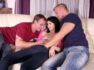 Two Horny Guys With Huge Cocks Are Fucking A Hot Girl Who Has A Tight Ass