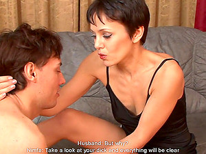 Short-haired Girl Punishes Her Man By Having Sex In Front Of Him