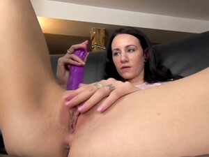 Brunette In Pink Socks Is Showing Her Pink Pussy To The Camera, While Masturbating Like Crazy