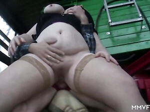 Fat Girl Fucks On The Farm And His Pussy Pleases Her