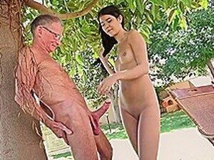 Kinky Teen Brunette Likes To Give Blowjobs To Grandpas And Get Fucked Hard In The Backyard