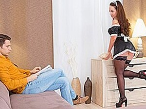 Russian Maid In Stockings Gets A Blowjob And Jumps On The Penis Of The...