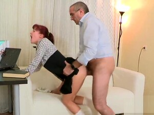 Kissable Schoolgirl Is Teased And Drilled By Her Elderly Teacher