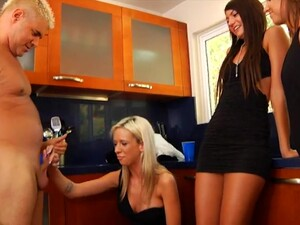 Lucky Guy Gets His Little Dick Blown By Ariel Lee And Her Friends