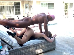 Very Hot Brunette Babe Gets Dicked By Big Black Cock Outside By The Pool