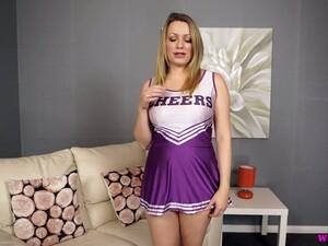 Dressed Like Horny Cheerleader Torrid Penny L Plays With Her Boobies