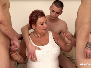 Surrounded By Dudes Mature Fat Whore Is So Into Sucking Cocks Dry