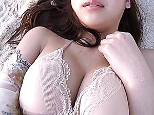 Big Breasted Asian Beauty Ayaka Sayama Adores Webcam On The Beach