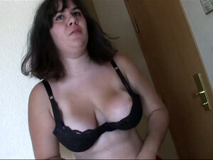 Ugly Pale And Fat Short Haired Brunette Flashes Huge Ass And Plays With Boobs