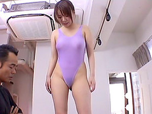 Tight Purple Swimsuit On A Japanese Cutie Taking A Toy